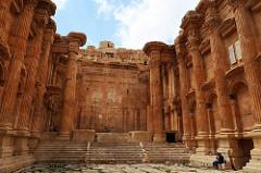 Inside the Temple of Bacchus in Baalbek