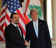 Secretary Kerry Shakes Hands With Former Lebanese Prime Minister Hariri