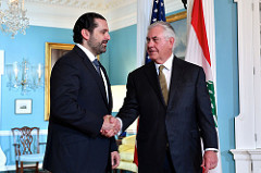 Secretary Tillerson Shakes Hands With Lebanese Prime Minister Hariri Before Their Meeting in Washington